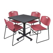 Regency 42-inch Square Laminate Table Grey With 4 Zeng Stacker Chairs, Burgundy