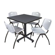 Regency 42-inch Square Laminate Table Gray 4 M Stacker Chairs, Gray