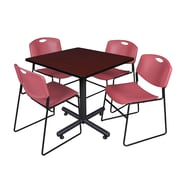 Regency 42-inch Square Laminate Table Mahogany With 4 Zeng Stacker Chairs, Burgundy
