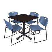 Regency 42-inch Square Laminate Mocha Walnut Table With 4 Zeng Stacker Chairs, Blue