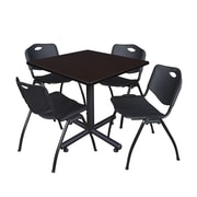 Regency 42-inch Square Laminate Table Mocha Walnut With 4 M Stacker Chairs, Black