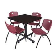 Regency 42-inch Square Laminate Table Mocha Walnut With 4 M Stacker Chairs, Burgundy