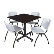 Regency 42-inch Square Laminate Table Mocha Walnut With 4 M Stacker Chairs, Gray