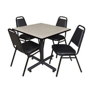 Regency 42-inch Square Laminate Beige & Kobe Base Table With 4 Restaurant Stack Chairs, Maple