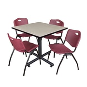Regency 42-inch Square Laminate Table Maple With 4 M Stacker Chairs, Burgundy