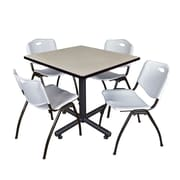 Regency 42-inch Square Laminate Table Maple With 4 M Stacker Chairs, Gray
