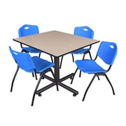 Regency 48-inch Square Laminate Beige Table with 4 M Stacker Chairs, Blue