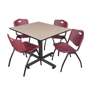 Regency 48-inch Square Laminate Beige Table with 4 M Stacker Chairs, Burgundy