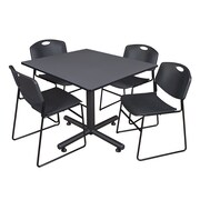 Regency 48-inch Square Laminate Table With 4 Zeng Stacker Chairs, Black