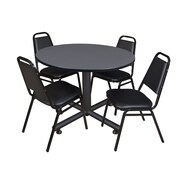 Regency 48-inch Round Laminate Table with 4 Restaurant Stack Chairs, Gray