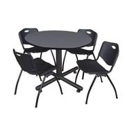 "Regency Kobe 48"" Round Breakroom Table, Gray and 4 'M' Stack Chairs, Black (TKB48RNDGY47BK)"