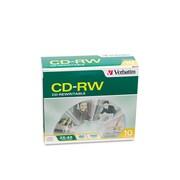 Verbatim® CD-RW Rewritable Disc, 700 MB, Slim Jewel Case, 10/Pack (95170)