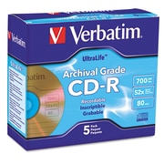 Verbatim® CD-R Archival Grade Recordable Disc, 700 MB, Jewel Case, 5/Pack (96319)