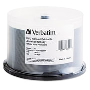 Verbatim® DVD-R AquaAce Printable Recordable Disc, 4.7 GB, Spindle, 50/Pack (96552)