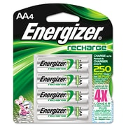Energizer® NiMH Rechargeable Batteries, AA, 4/Pack (NH15BP-4)