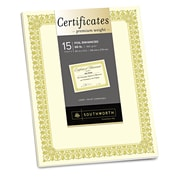 "Southworth® Premium Certificates, Ivory/Gold, 11"" x 8 1/2"", 15/Pack (CTP1V)"