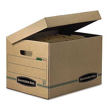 Bankers Box® SYSTEMATIC® Basic-Duty Attached Lid Storage Boxes, Letter/Legal, Kraft/Green, 12/Carton (12772)