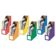 "Bankers Box® Extra-Wide Magazine File, 4 1/4"" x 12 1/4"" x 13"", Blue; Green; Orange; Purple; Red; Yellow, 6/Pack (FEL3381901)"