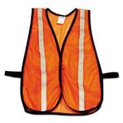 North Safety® Economical Mesh Traffic Vest TV15RSC, Polyester Mesh, One Size Fits All, Hi-Viz Orange, 5/Pack (068-TV15RSC)