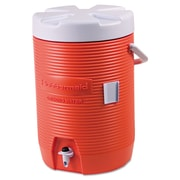 Rubbermaid® Commercial Insulated Beverage Container, 3 gal, 11 in-Diameter, Polyethylene, Orange/White, Each (325-1683-01-11)