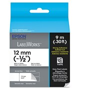"Epson® LabelWorks™ Strong Adhesive LC Tape Cartridge, 1/2"" x 29.52 ft., Black, Each (LC-4WBW9)"