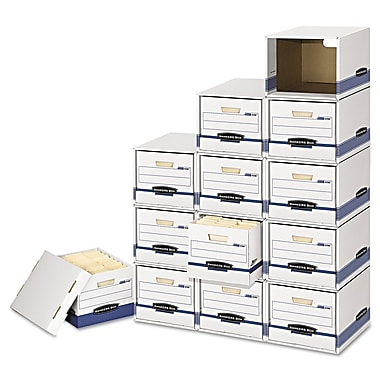 Bankers Box® Storage Drawers with PRESTO™ Heavy-Duty Boxes, Letter/Legal, White/Blue, 6/Carton (FEL2162601)