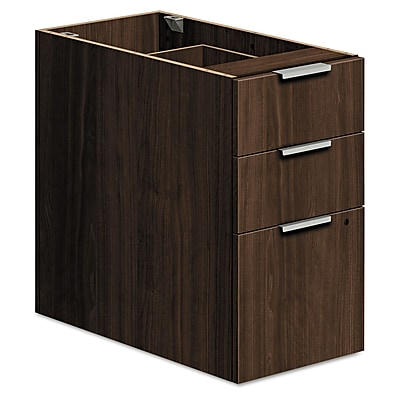 HON Voi Support Pedestal 3 Drawer s Columbian Walnut Legal; Letter HLSL3028B.Z.Z.T1
