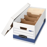 "Bankers Box® STOR/FILE™ Medium-Duty 24"" Storage Boxes, Letter, White/Blue, 12/Carton (0083101)"