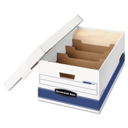 "Bankers Box® STOR/FILE™ Medium-Duty 24"" Storage Boxes, Legal, White/Blue, 12/Carton (0083201)"