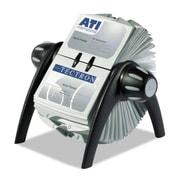 "Durable® VISIFIX® Flip Rotary Business Card File, 2 7/8"" x 4 1/8"", 400-Capacity, Black/Silver (241701)"