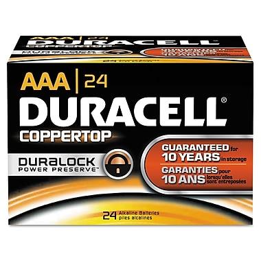 Duracell® CopperTop® Alkaline Batteries with Duralock Power Preserve™ Technology, AAA, 24/Box (MN2400BKD01)