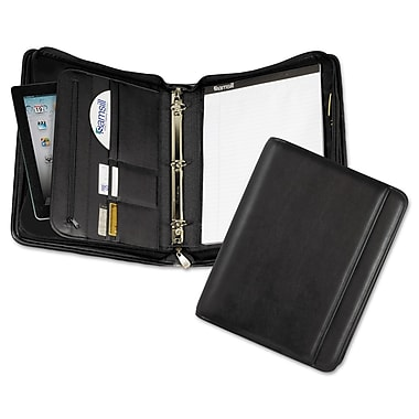 samsill professional zipper binder with ipad pocket leather like 11 1