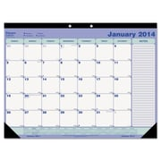 Blueline® Monthly Academic Desk Pad Calendar, 2015-2016, 21 1/4 x 16, White/Blue/Green (CA181731)