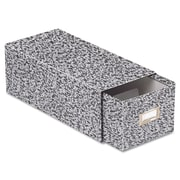 """Oxford® Reinforced Board Card File with Pull Drawer, 4"""" x 6"""",Black/White Agate, Each (ESS40593)"""