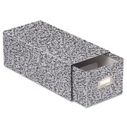 """Oxford® Reinforced Board Card File with Pull Drawer, 3"""" x 5"""", 1500-Capacity, Black/White Agate (ESS40592)"""