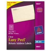 Avery® Clear Easy Peel® Mailing Labels, 1/2 x 1 3/4, 1/Pack (72782)