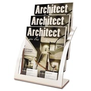 "deflecto® Three-Tier Literature Holder, 11 1/4"" x 6 15/16"" x 13 5/16"", Silver, Each (DEF693745)"