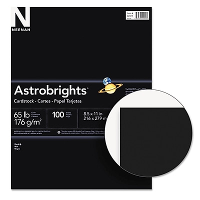 Neenah Paper Astrobrights® Colored Card Stock, 8 1/2 x 11, Eclipse Black™, 100/Pack (22024)