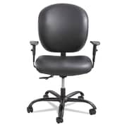 Safco® Alday™ Intensive-Use Chair, Vinyl, Optional height and width adjustable T-Pad arms, Black (3391BV)