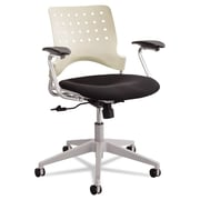 Safco® Reve™ Square Back Task Chair, 100% Polyester, T-Pad, Black/Latte (6807LT)