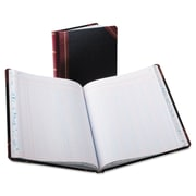 "Boorum & Pease® Extra-Durable Bound Book, Columnar Accounting, 8.2"" x 10.4"", Black/Red (21-150-12)"
