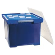 Storex Plastic File Tote, Letter/Legal, Blue/Clear, Each (61554U01C)
