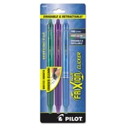 Pilot® FriXion Clicker Erasable Gel Ink Retractable Pen, 0.7 mm, Assorted, 3/Pack (72838)