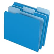 Pendaflex® Colored File Folders, Letter, Blue/Light Blue, 100/Box (1521/3BLU)