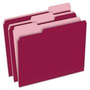 Pendaflex® Colored File Folders, Letter, Burgundy/Light Burgundy, 100/Box (1521/3BUR)