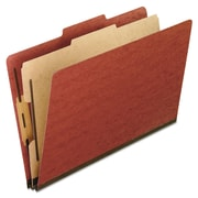 Pendaflex® Four-, Six-, and Eight-Section Pressboard Classification Folders, Top Tab, Red, 10/Box (1157R)