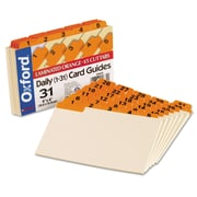 Oxford® Manila Index Card Guides with Laminated Tabs, 4 x 6, Manila, 1/Set (04634)