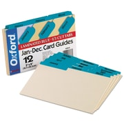 Oxford® Manila Index Card Guides with Laminated Tabs, 5 x 8, Manila, 1/Set (05813)