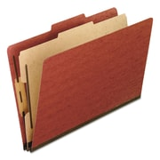 Pendaflex® Four-, Six-, and Eight-Section Pressboard Classification Folders, Top Tab, Red, 10/Box (2157R)