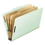 Pendaflex® Four-, Six-, and Eight-Section Pressboard Classification Folders, Top Tab, Green, 10/Box (17174)